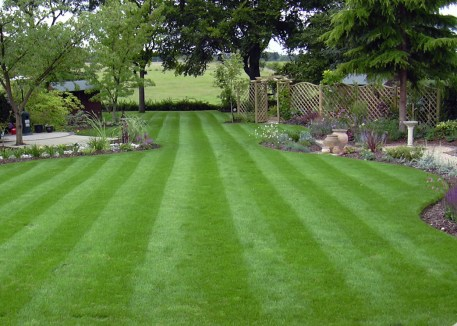 This design makes the most of the view leading the eye down the garden in this medium sized garden.