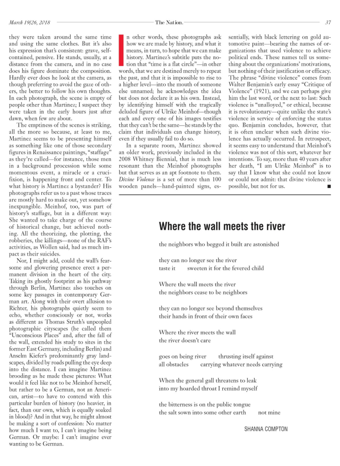 "Magazine page from the Nation with poem ""Where the wall meets the river"""
