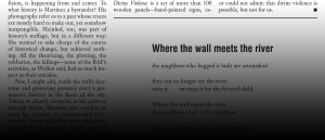 """A magazine page showing part of a poem called """"Where the wall meets the river."""""""