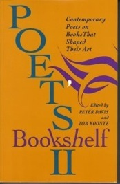 Cover of Poet's Bookshelf 2: Contemporary Poets on the Books That Shaped Their Air, edited by Peter Davis and Tom Koontz with green and purple lettering on an orange background.