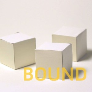 Cover of Bound: The First Array, edited by Shanna Compton, showing three ivory paper cube sculptures in on a white backround with yellow title lettering.