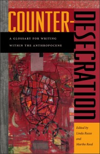 Cover of Counter-Desecrations: A Glossary for Writing within the Anthropocene, edited by Linda Russo and Marthe Reed, with black lettering and a contemporary abstract painting on a red background.