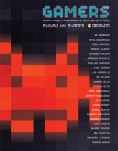 Cover of Gamers: Artists, Writers & Programmers on the Pleasures of Pixels, edited by Shanna Compton, with a large red Space Invaders creature on black, with video-game lettering.