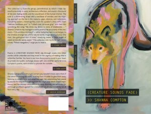 The cover of (CREATURE SOUNDS FADE) by Shanna Compton, featuring a painting of a wolf in ochre, pink, black, and gray against a pale blue-gray background. The title and author name are styled in semi-opaque black boxes and yellow monospace type, in the manner of Closed Captions, which are a theme. The back cover shows three blurbs, by Diane Seuss, Dara Wier, and Anselm Berrigan.