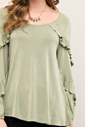 Green layered long sleeve top