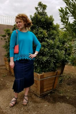 Denim Pleated Pencil Skirt