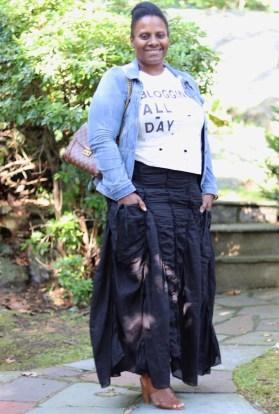 Long ruched pocket skirt