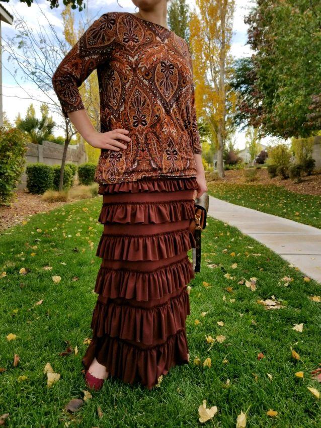 Brown ruffle eleganza skirt