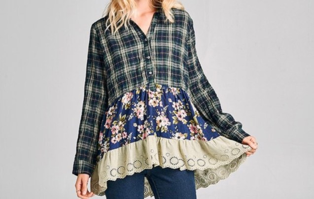 Button plaid floral top