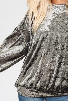 Light Olive velvet long sleeve top