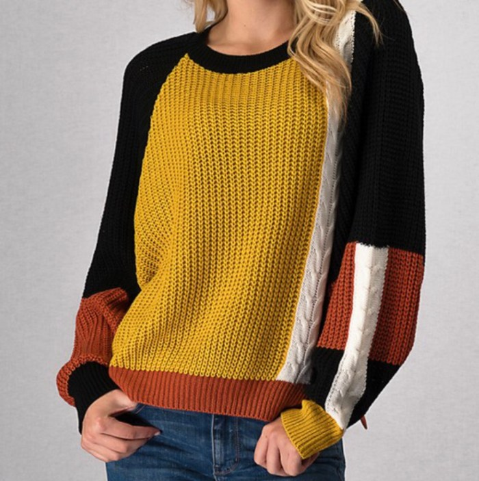 Color block batwing sleeve sweater