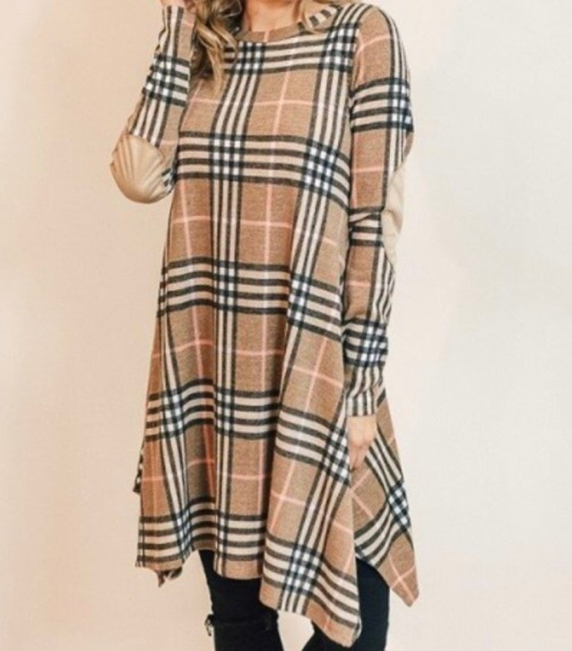 Cowlneck plaid swing dress with elbow patches - tan