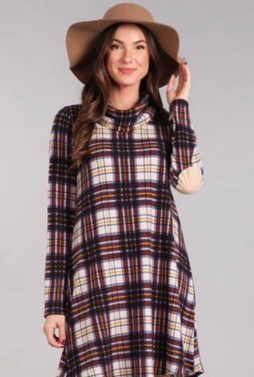 Plaid tunic swing dress