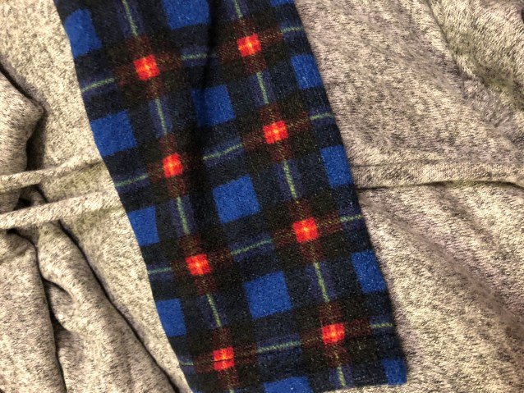 Gray fleece swing sweater dress plaid cuffs