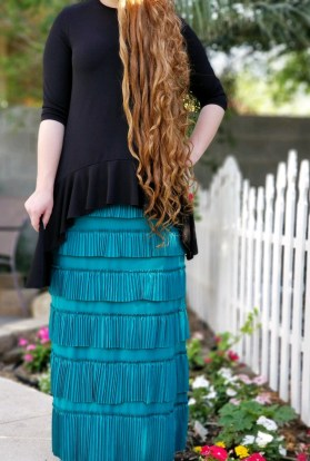 Pleated Eleganza Skirt ~ Jade