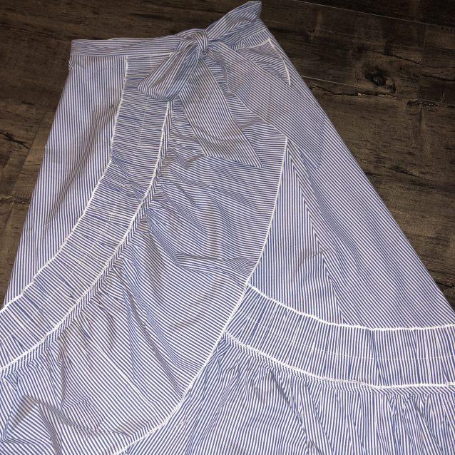 Stripe maxi skirt with ruffle
