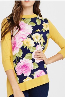 Navy mustard high low floral top