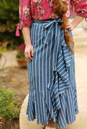 Blue ruffle pinstripe wrap skirt