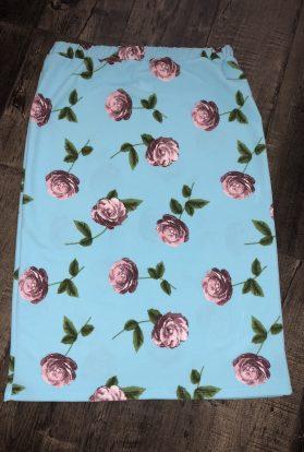 Mint floral pencil skirt