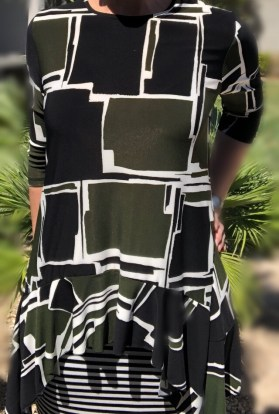 Zari Ruffle Tunic - Green Block