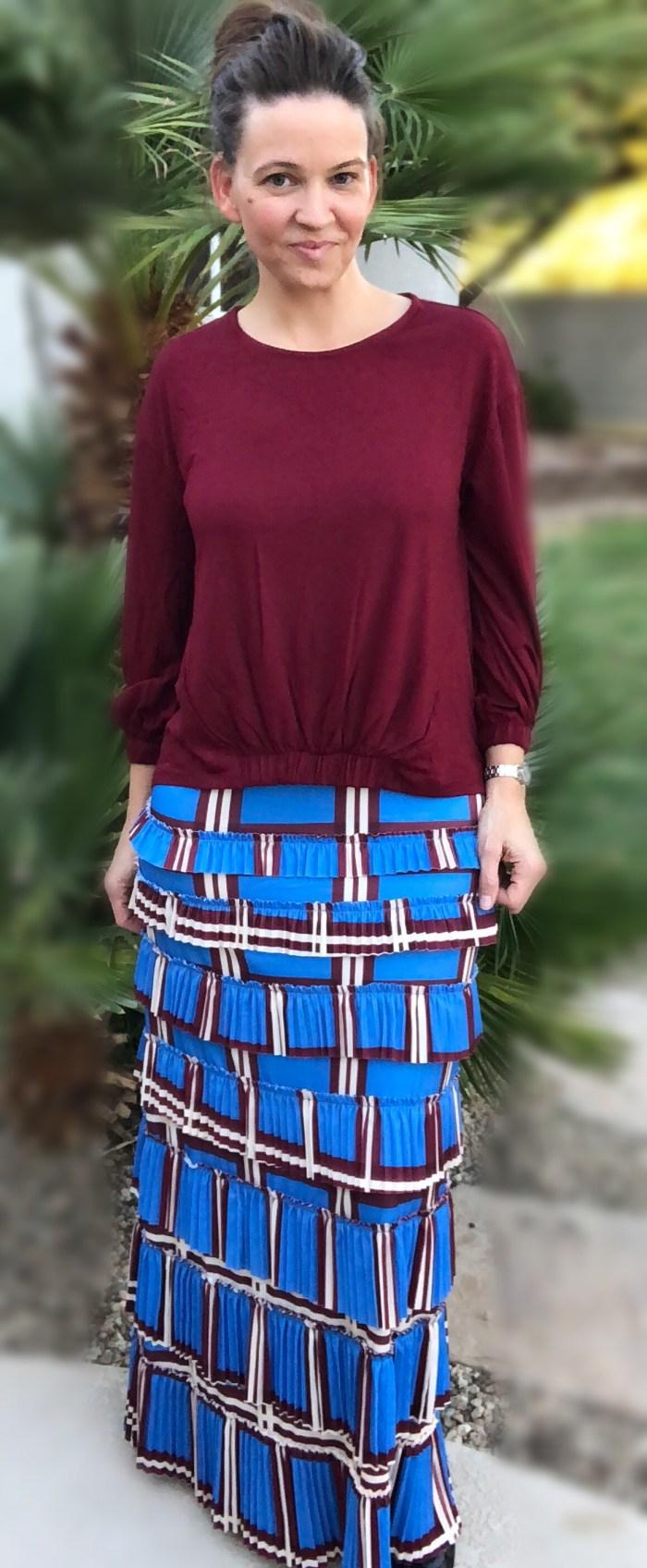 pleated elegance skirt ~ Blue Plaids