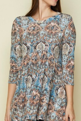 Paisley High low Tunic Top