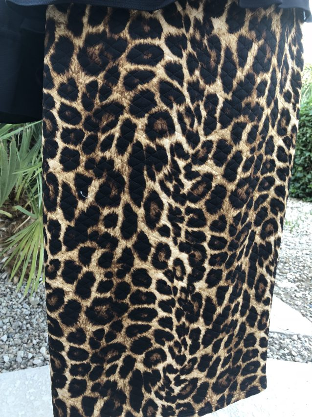 Leopard quilted pencil skirt