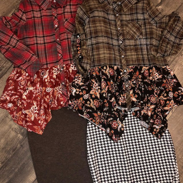 Black asymmetric long sleeve plaid floral top