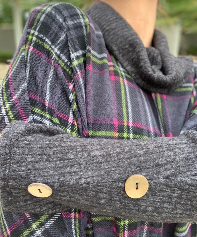 Gray plaid button poncho