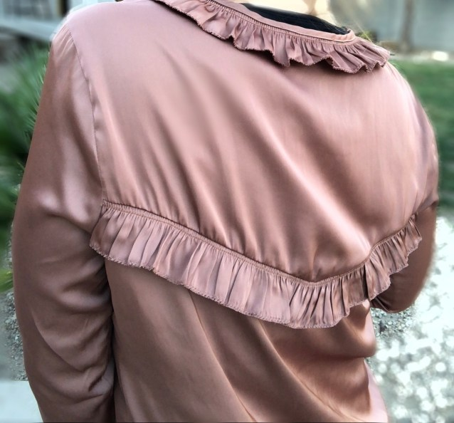 copper ruffle blouse