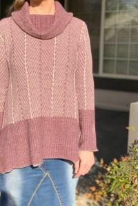 Mauve pink shark bite turtleneck sweater