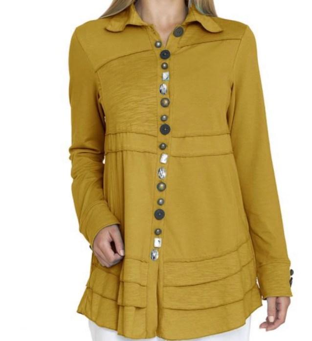 mustard button tunic