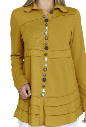 mustard button tunic