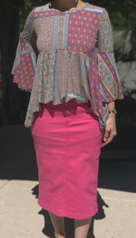 Fuchsia twill stretch pencil skirt