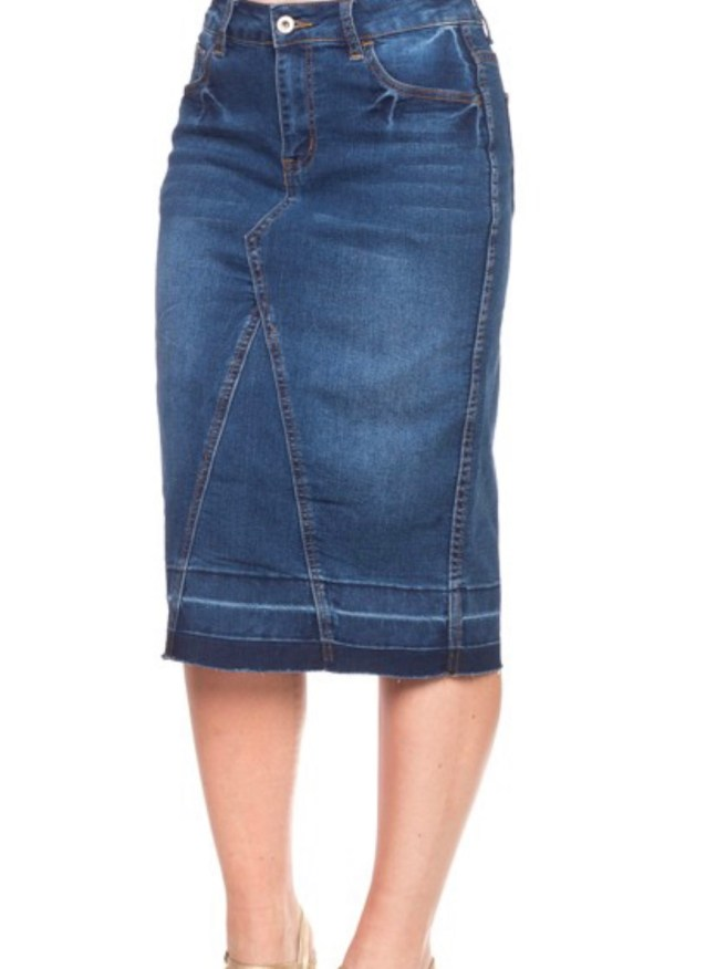 Blue denim skirt medium wash