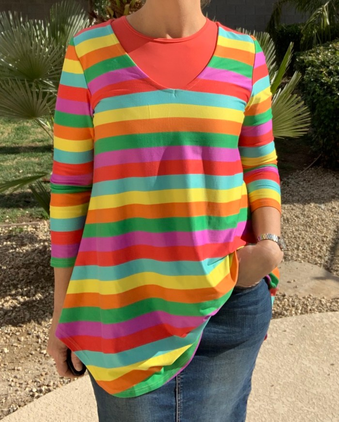 Brushed striped multi color tunic