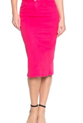 Fuchsia twill stretch Pencil skirt