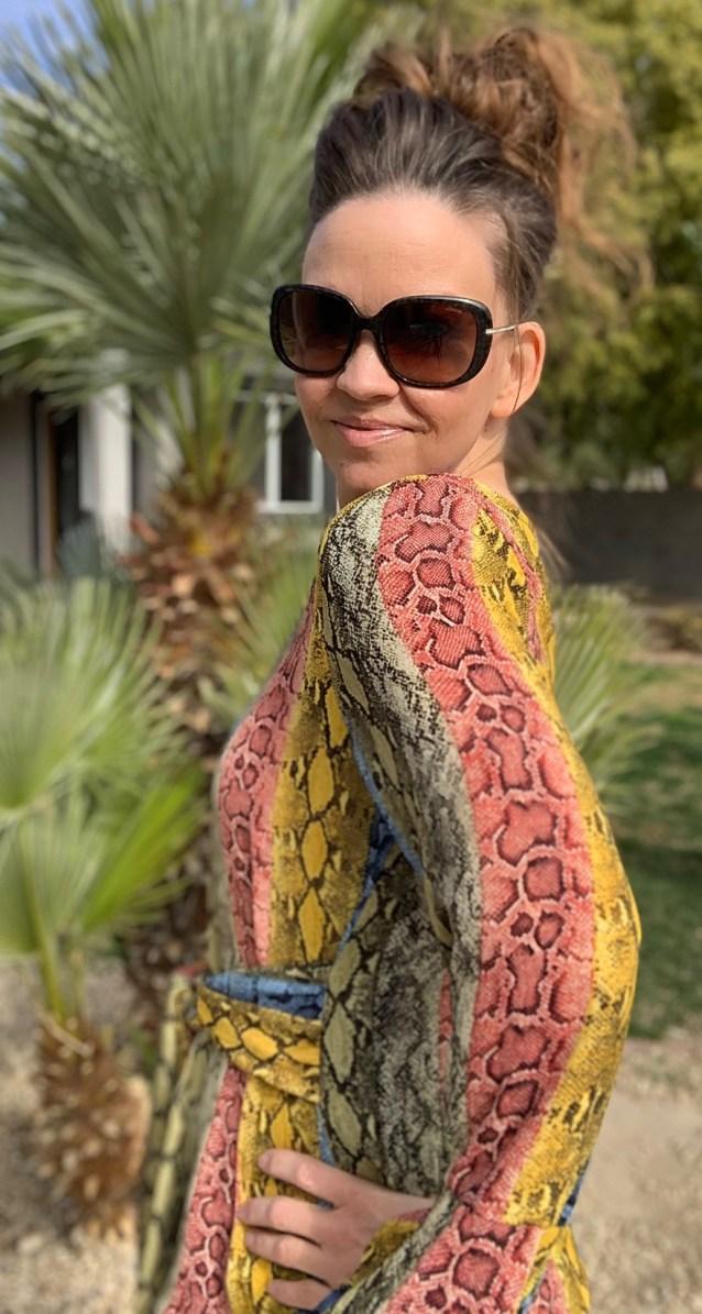 Multi snake print belted top