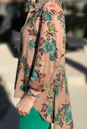 Hi low button up taupe tunic