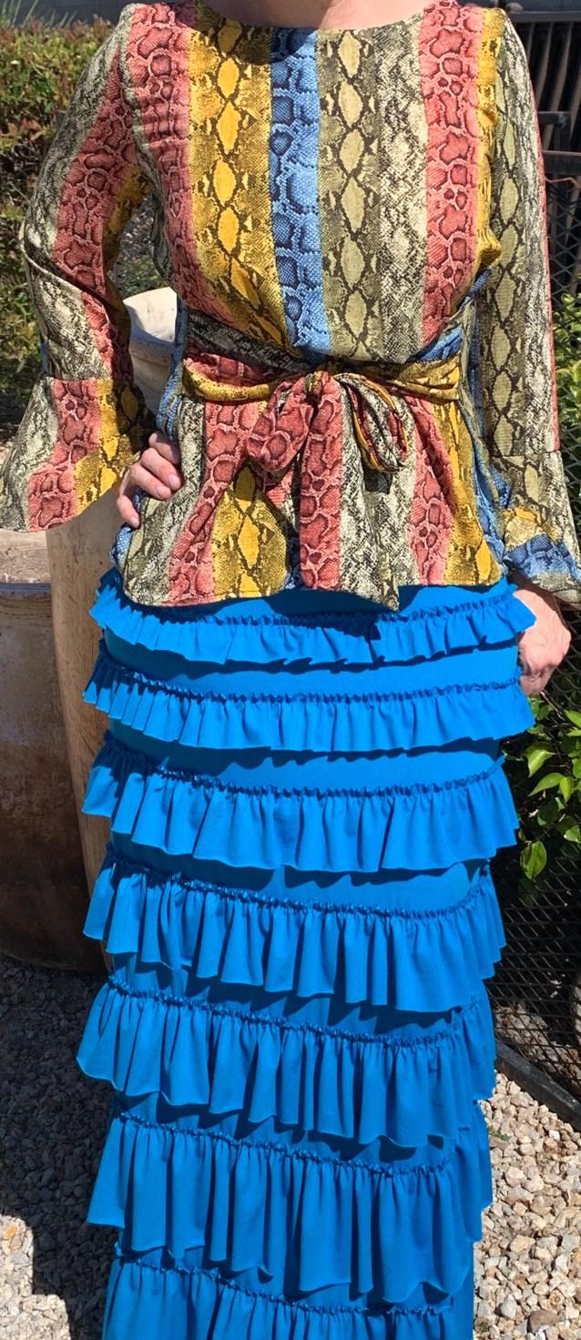 Aqua ruffle eleganza skirt