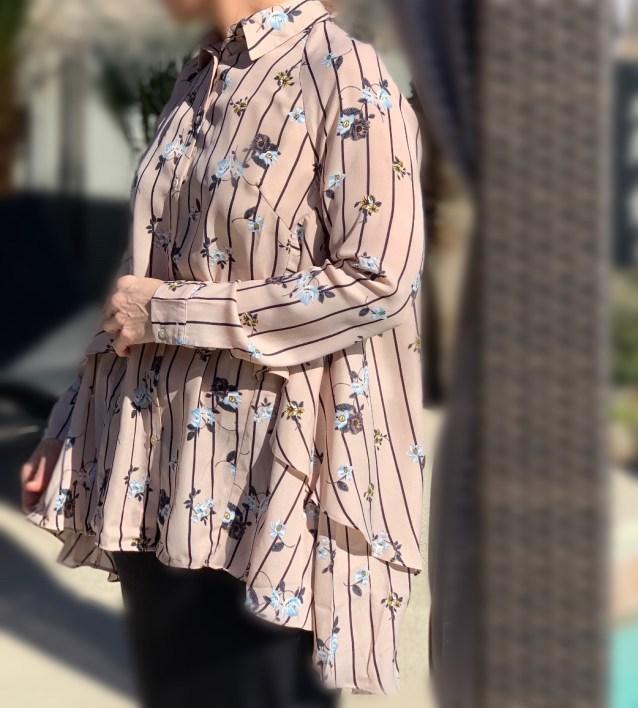 pink ruffle hi low button up tunic