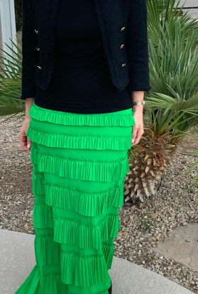 Kelly Green Ruffle Eleganza skirt