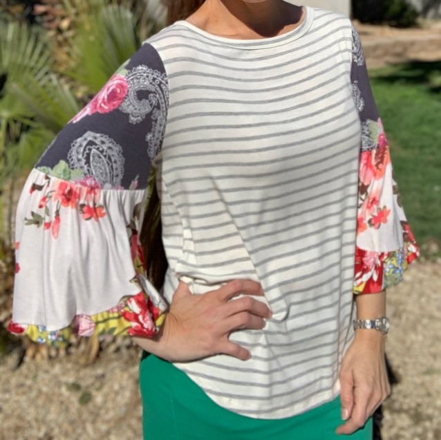 gray stripe contrast sleeve top