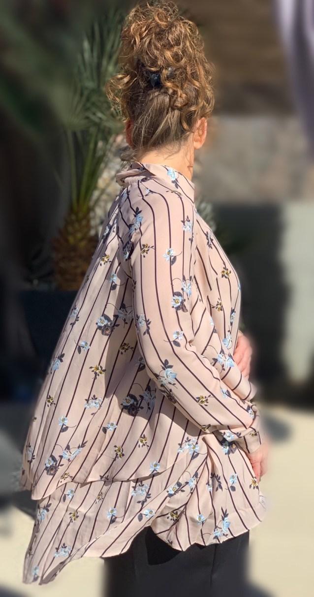 Pink hi low ruffle button up tunic
