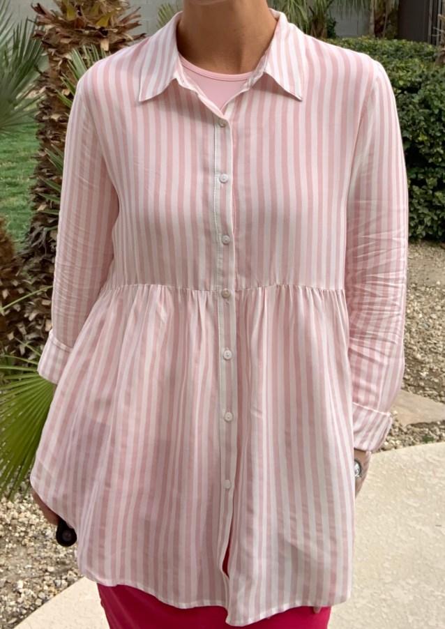 pink stripe hi low tunic