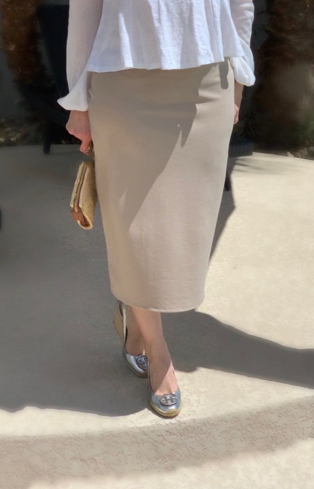 Natural modest pencil skirt