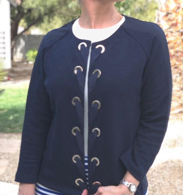 navy lace up short blazer
