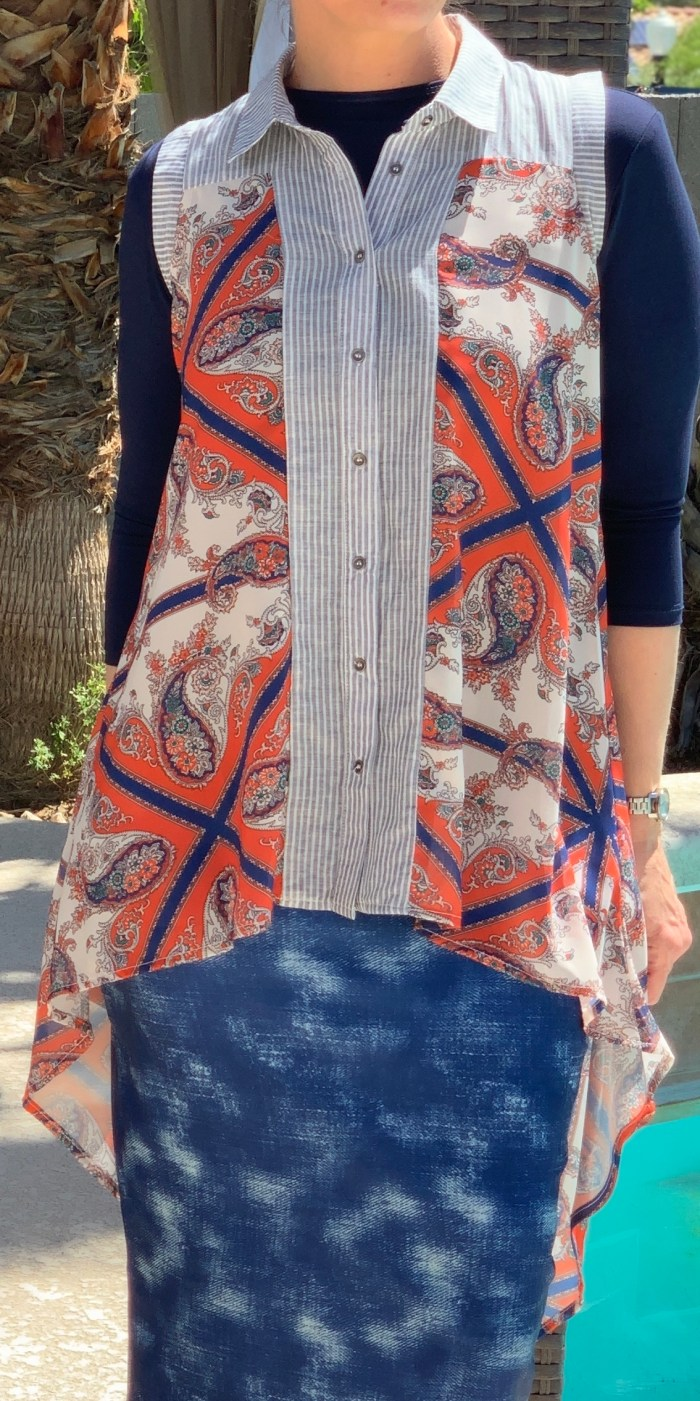 Chiffon high low button up vest