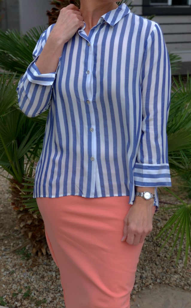 Blue stripe button down blouse