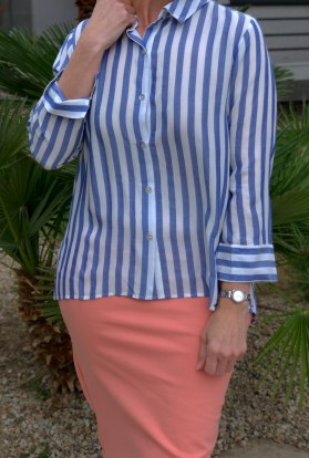 Blue stripe button down blouse
